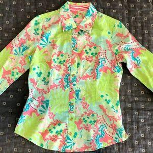 Lilly Pulitzer gecko print shirt